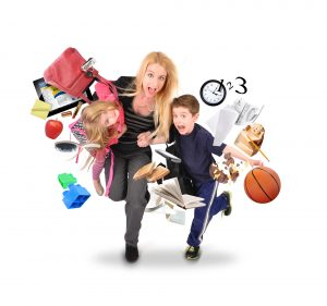 A mother is late for school and work while rushing with her children for a funny stress concept on a white isolated background. There are objects flying away from them.